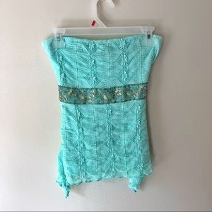 Charlotte Russe • teal lace beaded tube top